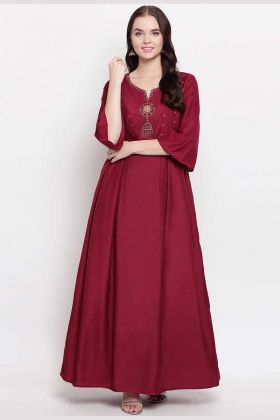 Heavy Viscose Muslin Maroon Kurti With Embroidery Work