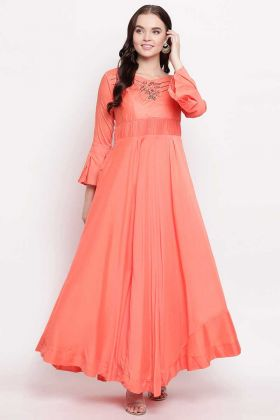 Heavy Viscose Muslin Party Wear Kurti Hand Work In Peach Color
