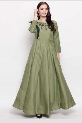 Heavy Viscose Muslin Stylish Kurti Embroidery In Green Color