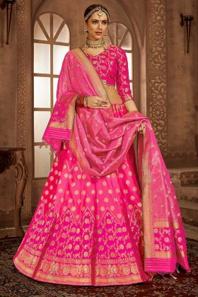 Heavy Weaving Work Banarasi Silk Pink Lehenga Choli