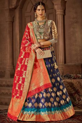 Heavy Weaving Work Navy Blue Color Banarasi Silk Designer Lehenga Choli