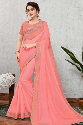 Heavy Wedding Saree Silk Fabric In Cord Embroidery