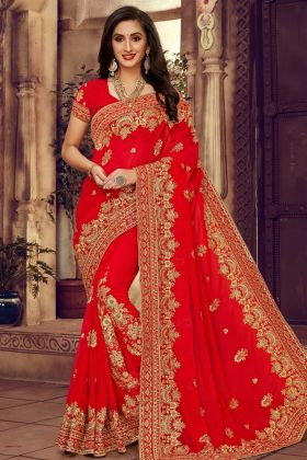 Heavy Work Georgette Bridal Saree Red Color