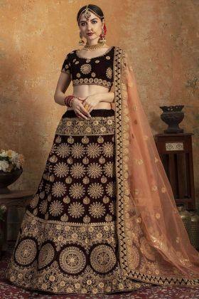 Heavy Work Maroon Pure Velvet Bridal Lehenga For Brides