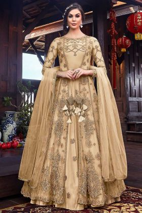 Heavy Work Net Fabric Cream Designer Suits For Women