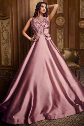 Heavy Work Rose Gold Pink Net Designer Party Wear Gown