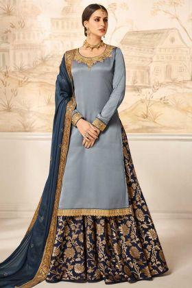 Heavy Work Satin Silk Indow Western Salwar Suit Steel Blue
