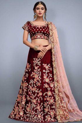 Heavy Work Velvet Silk Maroon Wedding Lehenga Choli