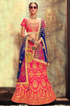 Heavy Zari Embroidery Work Banglori Silk Pink Lehenga Choli With Net Dupatta