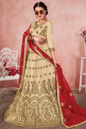 Heavy Zari Embroidery Work Beige Color Satin Silk Wedding Lehenga Choli