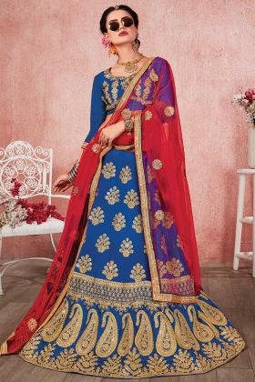 Heavy Zari Embroidery Work Blue Color Satin Silk Party Wear Lehenga Choli