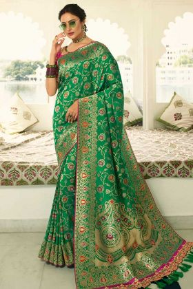 Heavy Zari Embroidery Work Green Color Banarasi Silk Saree
