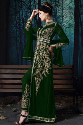 Heavy Zari Embroidery Work Green Color Pure Faux Georgette Pant Style Salwar Kameez