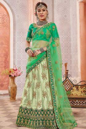 Heavy Zari Embroidery Work Light Green Color Satin Silk Designer Lehenga Choli