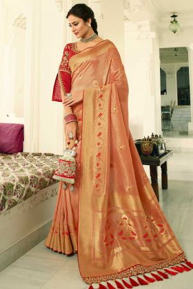 Heavy Zari Embroidery Work Peach Color Banarasi Silk Saree