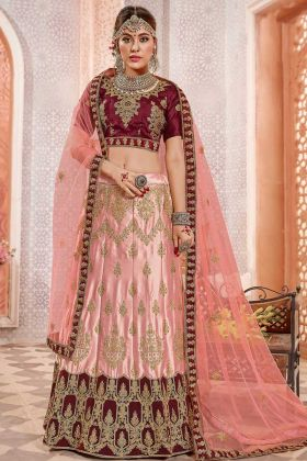 Heavy Zari Embroidery Work Peach Color Satin Silk Designer Lehenga Choli