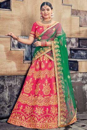 Heavy Zari Embroidery Work Pink Color Silk Lehenga Choli