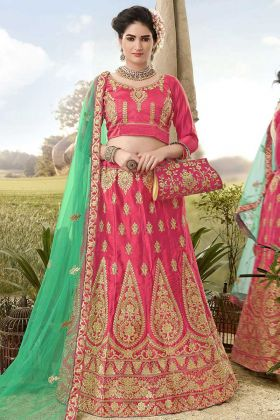 Heavy Zari Embroidery Work Satin Silk Pink Lehenga Choli With Net Dupatta
