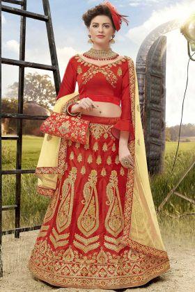 Heavy Zari Embroidery Work Satin Silk Red Lehenga Choli