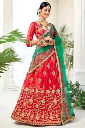 Heavy Zari Embroidery Work Silk Red Lehenga Choli With Net Dupatta