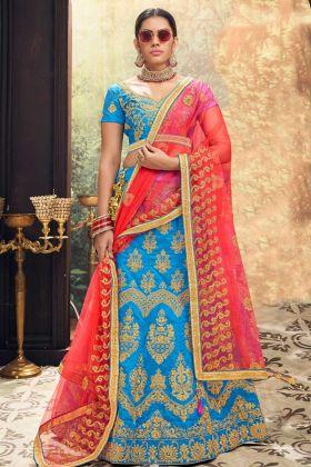Heavy Zari Embroidery Work Sky Blue Color Banglori Silk Designer Lehenga Choli