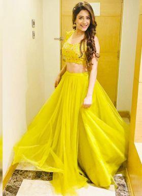 Hiba Nawab Yellow Zari Work Lehenga Choli