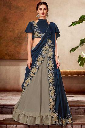High Fashion Glamour Dual Tone Silk Grey Lehenga Saree