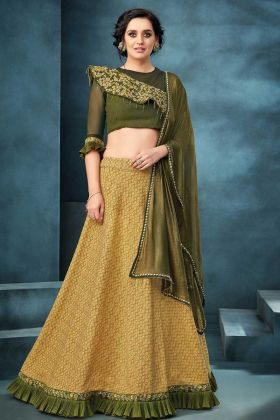 High Fashion Mustard Yellow Fancy Jacquard Party Wear Lehenga Design