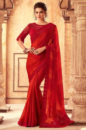 Highlight Silk Designer Fancy Party Wear Saree In Red