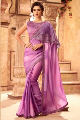 Highlight Silk Wedding Saree Light Purple