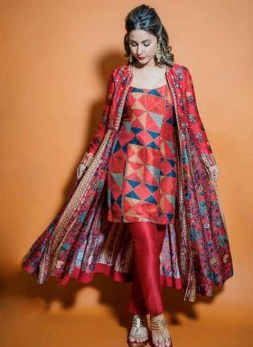 Hina Khan Maroon Suit With Koti