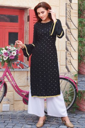 Hit Design Of Rayon Black Kurti With Slub Cotton Palazzo