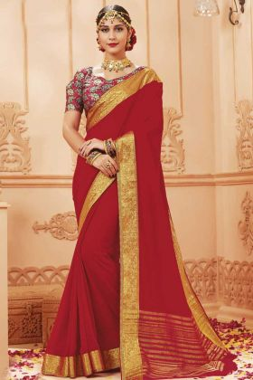 Hit Designer Lace Border Red Satin Silk Saree