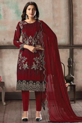 Hold On Red Color Georgette Ladies Fancy Embroidered Salwar Suit