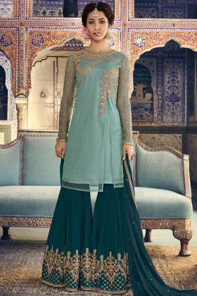 Ice Blue Net Wedding Sharara Suit