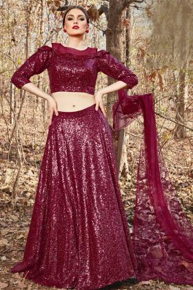 Imported Fabric Maroon Lehenga With Off Shoulder Blouse Pattern