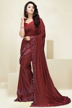 Imported Fabric Party Wear Ruffle Saree In Maroon Color