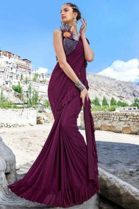 Imported Fabric Party Wear Ruffle Saree In Wine Color
