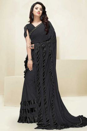 Imported Fabric Ruffle Saree Foil Print Work In Black Color