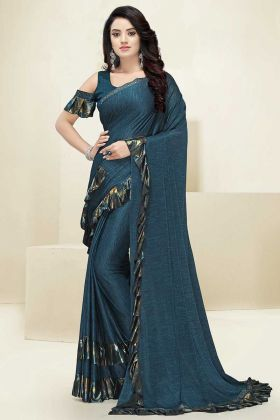 Imported Fabric Ruffle Saree Foil Print Work In Navy Blue Color