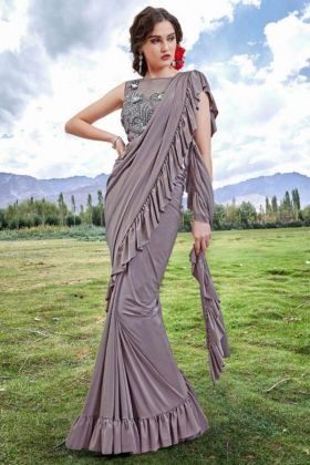 Imported Fabric Ruffle Saree In Grey Color