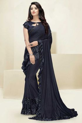 Imported Fabric Stylish Ruffle Saree Swarovski Work In Navy Blue Color