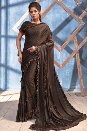 Imported Heavy Lycra Party Wear Ruffle Saree Embroidery Work In Brown Color