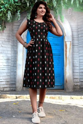 Impressive Black Colored Printed Heavy Rayon One Piece Kurti