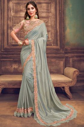 Impressive Bluish Grey Dual Tone Silk Georgette Saree