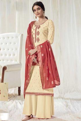 Impressive Dark Cream Pure Dola Cotton Party Wear Salwar Suit
