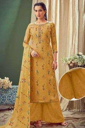 Impressive Mustard Yellow Pure Wool Pashmina Suit