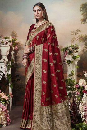 Impressive Wedding Wear Red Banarasi Silk Saree