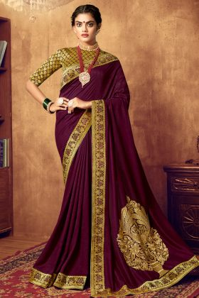 Impressive Wine Color Art Silk Jari Embroidery Work Saree