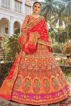 In Lowest Rate Silk Multi Color Bridal Weaving Lehenga Choli